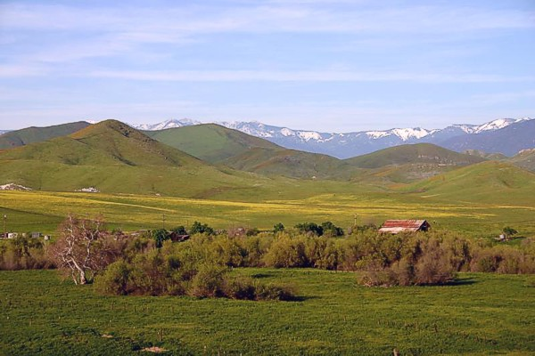 Looking east towards the snow capped Sierra Nevada mountains.