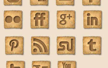 Web Design Wednesday – Free Rustic Old Paper Social Media Icons