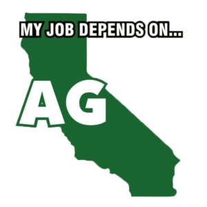 The California My Job Depends on Ag Decal