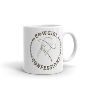 Cowgirl Confessions Mug, Brown with Barbed Wire