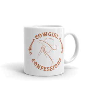 Cowgirl Confessions Mug, Rust with Pistols