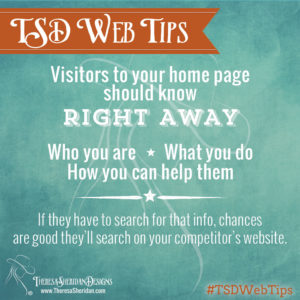 Visitors to your home page should know right away who you are.