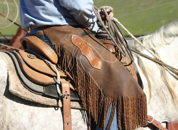 Close up of cowboy's leather chinks - Theresa Sheridan Designs