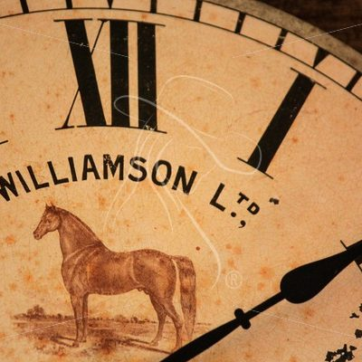 Close up of vintage style clock with horse - Theresa Sheridan Designs