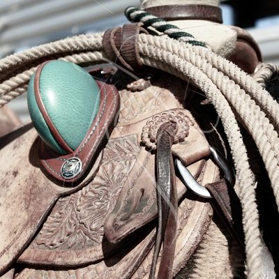 Close up of western slick fork saddle with rope, desaturated - Theresa Sheridan Designs