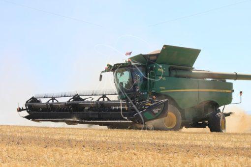 Combine during bean harvest - Theresa Sheridan Designs