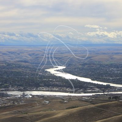 Confluence of the Snake and Clearwater Rivers, Lewiston, Idaho on a cloudy day - Theresa Sheridan Designs