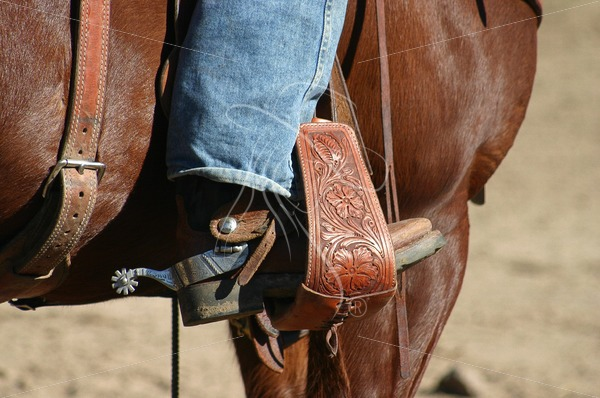 Cowboy boot in stirrup with spur - Theresa Sheridan Designs