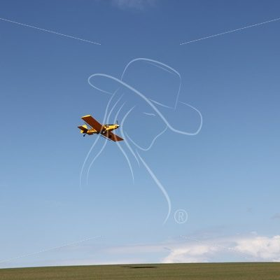 Crop duster flying over wheat field - Theresa Sheridan Designs