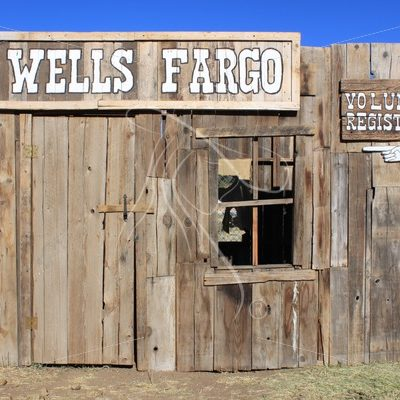 Faux wooden western store front facade - Theresa Sheridan Designs