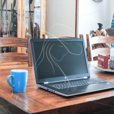 Laptop on dining table with turquoise coffee mug - Theresa Sheridan Designs