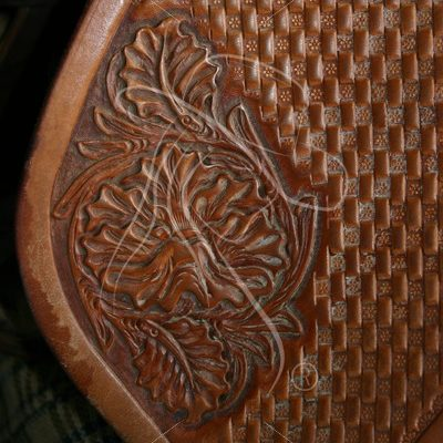 Leather stirrup fender with floral tooling - Theresa Sheridan Designs