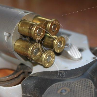 Loaded 38 revolver with open cylinder - Theresa Sheridan Designs