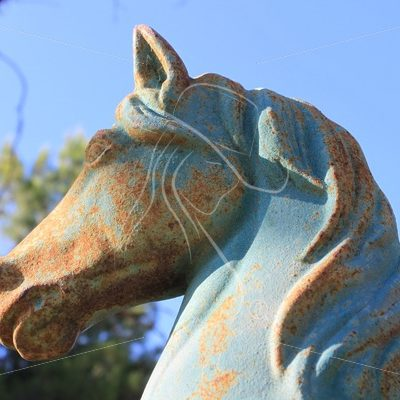 Metal horse head figure with patina - Theresa Sheridan Designs