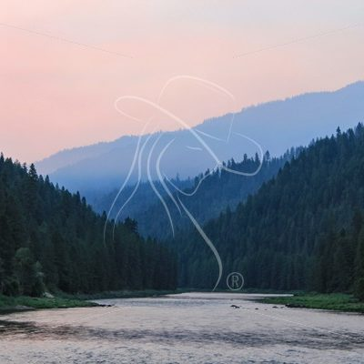 Middle fork Clearwater River with smoky sky - Theresa Sheridan Designs