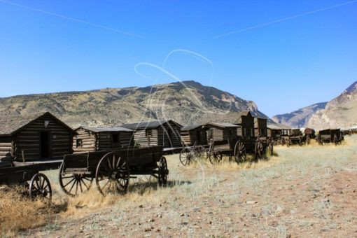 Row of wagons at Old Trail Town in Cody, Wyoming - Theresa Sheridan Designs