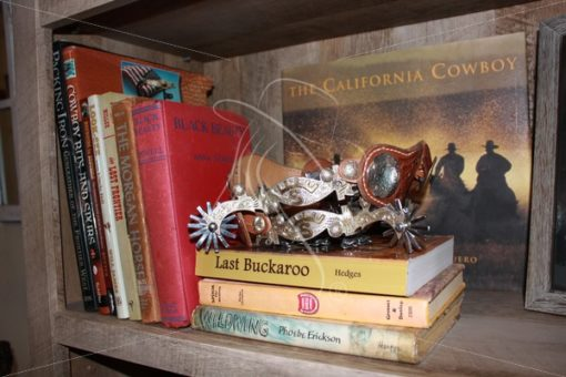 Spurs and vintage books on bookshelf - Theresa Sheridan Designs