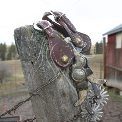 Spurs hanging on fence post - Theresa Sheridan Designs