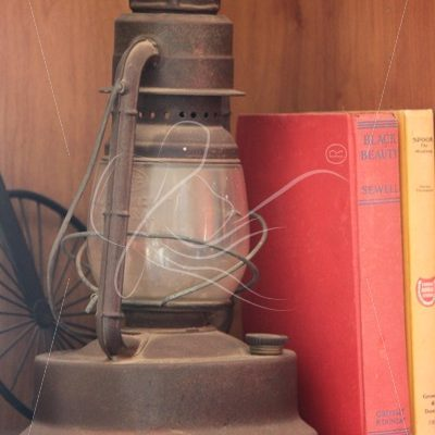 Vintage oil lamp and books sitting on a shelf - Theresa Sheridan Designs