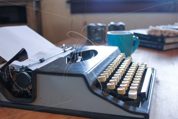 Vintage Typewriter with turquoise coffee mug - Cowgirl Media
