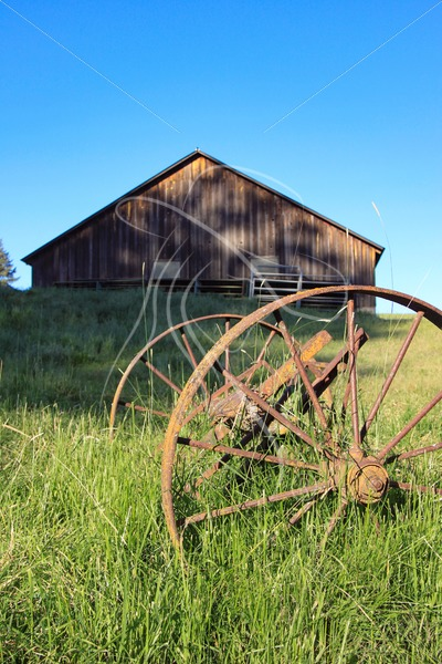 Rusty wagon wheels in grass with old wood barn in background - Cowgirl Media