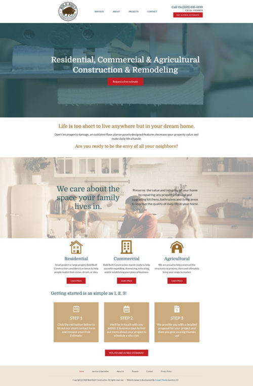 Bold Built Construction home page