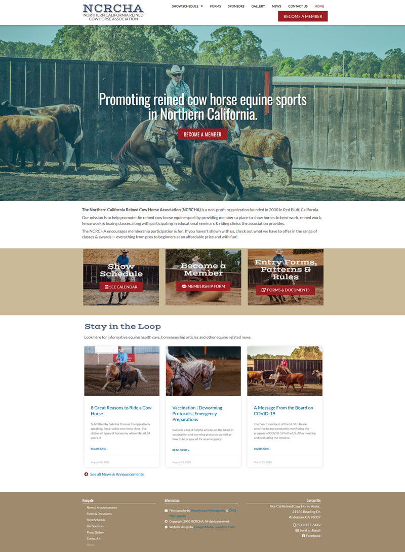 Northern California Reinded Cow Horse website